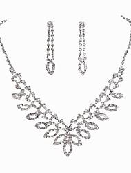 preiswerte -Damen Strass Blattform Schmuck-Set 1 Halskette / 1 Paar Ohrringe - Klassisch / Modisch Silber Braut-Schmuck-Sets Für Hochzeit / Party /