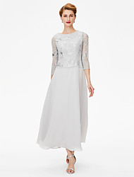 Sheath / Column Jewel Neck Ankle Length Chiffon Lace Mother of the Bride Dress with Crystal Detailing by LAN TING BRIDE®