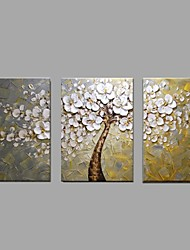 cheap -Oil Painting Hand Painted - Floral / Botanical Pastoral / Modern Canvas / Three Panels / Stretched Canvas