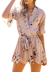 Women's Mid Rise Going out Holiday Rompers,Sexy Simple Loose Floral All Seasons