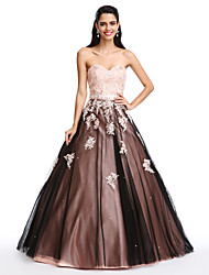 Ball Gown Sweetheart Floor Length Satin Tulle Prom Dress with Beading by TS Couture®