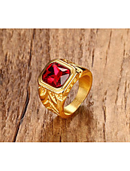 cheap -Men's Ring Synthetic Ruby Classic Vintage Punk Statement Jewelry Titanium Steel Square Jewelry For Halloween Party/ Evening Daily Ceremony