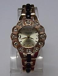 Damen Modeuhr Armband-Uhr Quartz Legierung Band Glanz Punkt Elegante Schwarz Rotgold