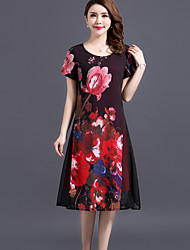 cheap -Women's Going out Plus Size Street chic Loose Dress,Floral Round Neck Midi Short Sleeves Polyester Spring Summer Mid Rise Micro-elastic