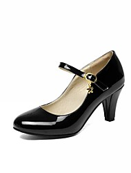 Women's Heels Summer Fall Comfort Novelty PU Synthetic Patent Leather Wedding Office & Career Casual Walking Chunky Heel Lace-upRed Beige