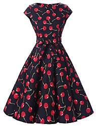 Women's Cap Sleeves Black Cherry Floral Dress  Vintage 50s Rockabilly Swing Dress