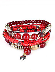 Lureme Bohemian Handmade Beads Charms Multi Strand Textured Stackable Bracelet Set