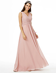A-Line V-neck Floor Length Chiffon Bridesmaid Dress with Criss Cross Pleats by LAN TING BRIDE®