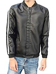 Herren Solide Freizeit Grundlegend Alltag Normal Jacke,Ständer Frühling/Herbst Lange Ärmel Standard PU Leder