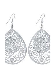 New Fashion Popular Charm Plated Gold/Silver Hollow Flower Water Drop Earrings For Women Dangle Long Earrings Jewelry Bijouterie