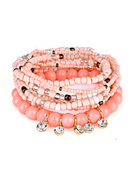 cheap -Lureme Bohemian Beads Crystal Charms Multi Strand Textured Stackable Bracelet Set