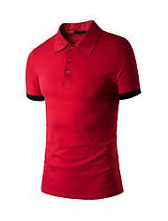 Masculino Camiseta Diário Simples Verão,Sólido Misto de Algodão Colarinho de Camisa Manga Curta Fina
