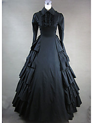 cheap -Victorian Rococo Costume Women's Party Costume Masquerade Black Vintage Cosplay Other Cotton Long Sleeves Cap Floor Length