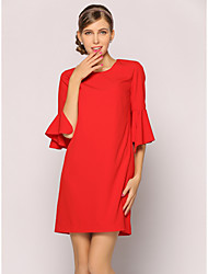 Women's Casual/Daily Work Simple Shift Dress,Solid Round Neck Knee-length Short Sleeve Polyester Summer Low Rise Inelastic Thin