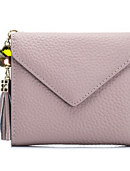 Women Card & ID Holder Cowhide All Seasons Fold over Clutch Tassel Button Blushing Pink Red Light Gray LightBlue Black