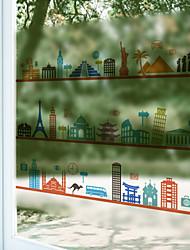 Window Film Window Decals Style World Architecture Dull Polish PVC Window Film - (60 x 58)cm