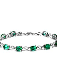 cheap -Women's Chain Bracelet Synthetic Emerald Natural Fashion Emerald Alloy Circle Jewelry For Wedding Party Birthday Event/Party