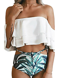 cheap -Women's Off Shoulder Bandeau Bikini - Floral, Ruffle Print High Waist