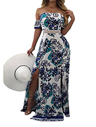 Women's Party Club Holiday Sexy Vintage Boho Sheath DressFloral Strapless Maxi Short Sleeve Backless Split Spring Summer High Rise