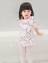 Girl's Fashion And Lovely Comfortable Pink Bunny Children Cotton Short Sleeve T-Shirt