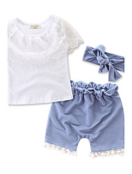 cheap -Toddler Girls' Lace / Dresswear Fashion / Lace Short Sleeve Cotton Clothing Set