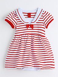 cheap -Baby Stripes One-Pieces,Cotton Summer Short Sleeve Red