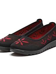 Недорогие -Для женщин Мокасины и Свитер Удобная обувь Ткань Весна Лето Повседневные Для прогулок Удобная обувь Цветы На плоской подошвеЧерный