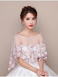 economico -Il rivestimento delle donne sposta gli scialli dei cappelli del tulle di cerimonia nuziale / appliques di sera il merletto del fiore (s)