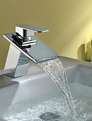 cheap -Contemporary Art Deco/Retro Modern Centerset Waterfall Ceramic Valve Single Handle One Hole Chrome, Bathroom Sink Faucet