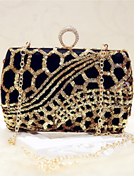 Women Bags All Seasons Silk Evening Bag Sequined for Event/Party Party & Evening Club Black