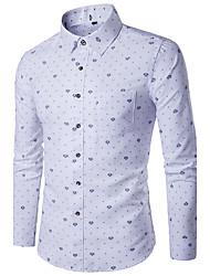 Langærmet Krave Herrer Geometrisk Alle årstider Simpel Afslappet/Hverdag Skjorte,Polyester