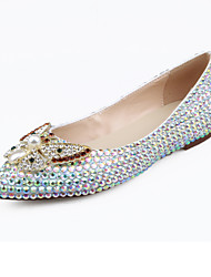 cheap -Women's Shoes Leather Spring Summer Novelty Comfort Flats Walking Shoes Flat Heel Pointed Toe Crystal Pearl for Wedding Party & Evening
