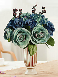 Wholesale Fake Hydrangea Berry Hartificial Bridal Wedding Bouquet Blue Wedding Flower Party Decoration Silk Roses Home Flower