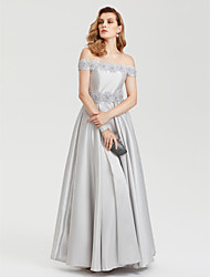 A-Line Off Shoulder Floor Length Satin Evening Party Formal Dress with Beading Flower(s) Pleats by TS Couture®