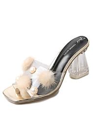 economico -Da donna Pantofole e infradito Vernice Estate Autunno Perle di imitazione Pompon Quadrato Oro Argento 5 - 7 cm
