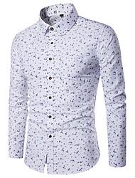 baratos -Homens Camisa Social Diário Casual Todas as Estações, Geométrica Poliéster Colarinho de Camisa Manga Longa