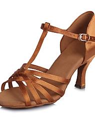 2017 New Brand Modern Women's Dance Shoes  Heeled shoes Latin Sandals  Satin Darkbrown Customizable