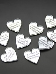 100 pcs Personalized Engraved Mirror / Transparent MR & MRS Surname Love Heart Wedding Table Decor Favors Customized multi-sizes