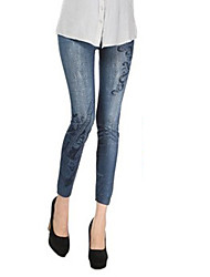 Women's Mid Rise High Elasticity Skinny Legging PantsSimple Pencil Skinny Classic printing Printing Jeans (Imitation jeans)