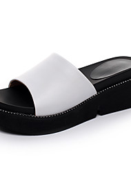 cheap -Women's Shoes Leather Summer Comfort Sandals Wedge Heel Peep Toe for White / Black / Red