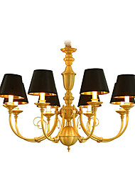 cheap -Chandelier   Traditional/Classic Country Brass Feature for LED Mini Style Metal Living Room Bedroom Dining Room Study Room/Office 8 Bulbs