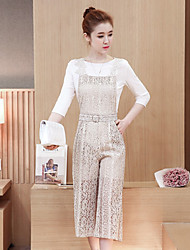 Women's Party/Evening Thank You Daily Others Spring Blouse Pant Suits,Solid Crew Neck 3/4-Length Sleeve