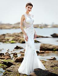 Meerjungfrau / Trompete V-Ausschnitt Boden Länge Satin Tüll Brautkleid mit Perlen von huaxirenjiao