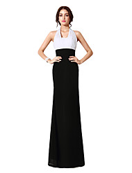 Sheath / Column Halter Floor Length Chiffon Formal Evening Dress with Ruching by Sarahbridal
