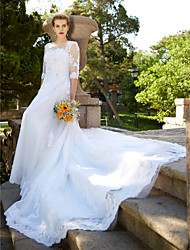 cheap -A-Line Illusion Neckline Cathedral Train Tulle Wedding Dress with Beading Appliques Button by LAN TING BRIDE®