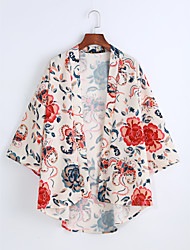 Women's Daily Cute Shirt,Print V Neck 3/4 Length Sleeve Cotton