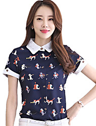 Women's Lace Work Print Shirt Collar Short Sleeve Summer OL Chiffon Shirt