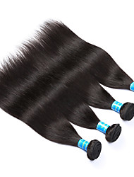 cheap -Vinsteen Malaysian 4Pcs Straight Human Hair Natural Human Hair Weft Double Weft Human Hair Weaves Black Color Hair Extensions