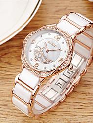 cheap -Women's Fashion Watch Wrist watch Quartz Imitation Diamond Ceramic Band White