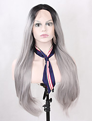 cheap -Natural Long Straight Fashion Realistic Ombre 2 Tones Black Grey Synthetic Lace Front Wigs Heat Resistant Half Hand Tied Fiber Hair for Women